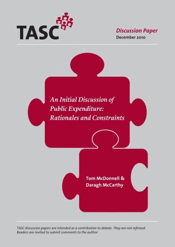An Initial Discussion of Public Expenditure: Rationales and ... - Tasc