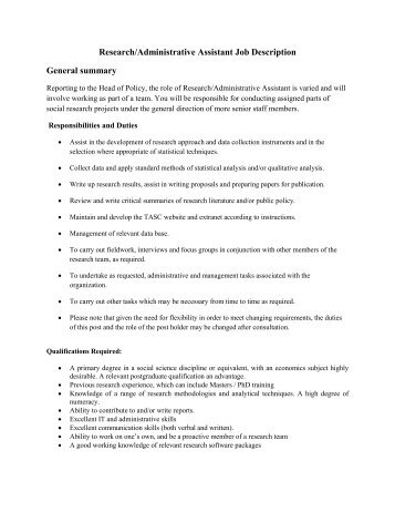 Research/Administrative Assistant Job Description General ...   Tasc  Administrative Assistant Responsibilities