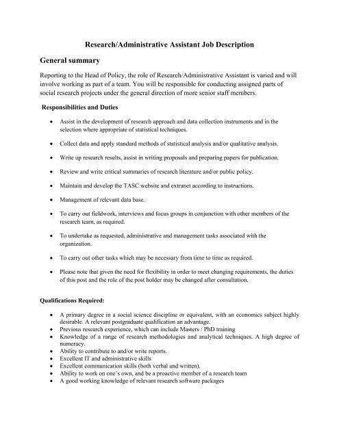 Research/Administrative Assistant Job Description General     - Tasc