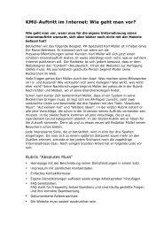 KMU-Auftritt im Internet: Wie geht man vor? - Walser Organisation