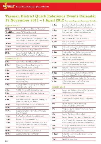 Hummin in Tasman Summer Events Guide 2011-2012