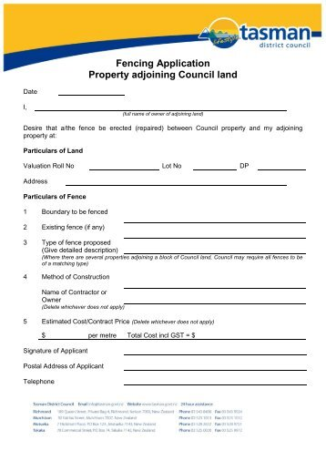 Fencing Application Property adjoining Council land