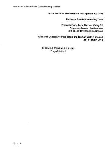 Applicant Evidence - Tony Quickfall - Planning - Tasman District ...