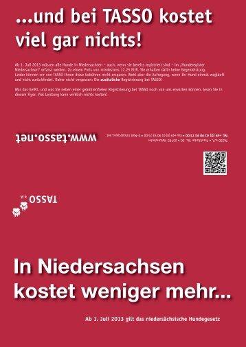 In Niedersachsen kostet weniger mehr... - TASSO eV