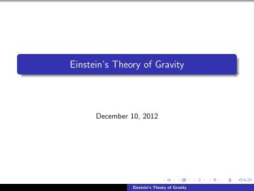 Einstein's Theory of Gravity