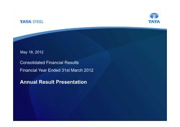 Analyst Presentation for the quarter ended 31st March ... - Tata Steel