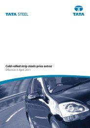 Cold-rolled strip steels price extras Effective 3 April 2011 - Tata Steel