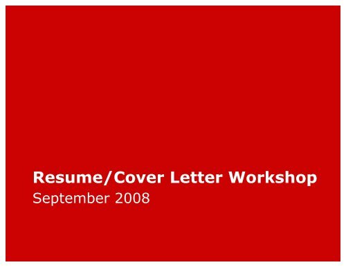 Resume Cover Letter Workshop Harvard University