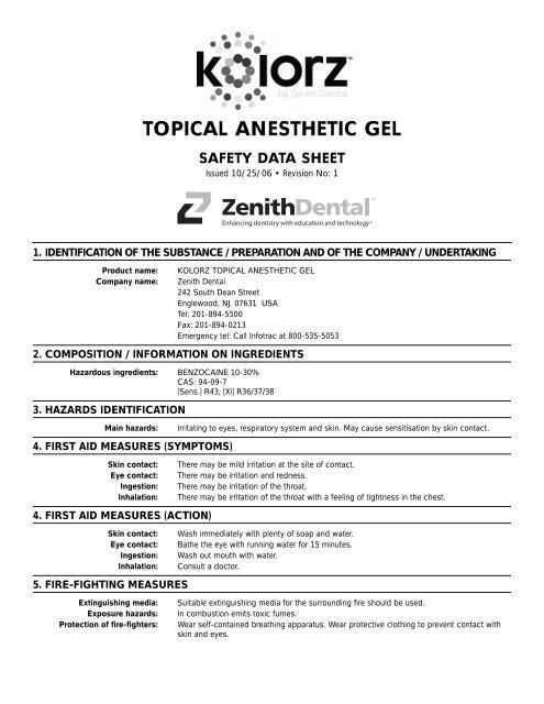 Topical Anesthetic Gel Dmg America