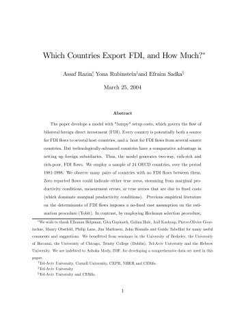 Which Countries Export FDI, and How Much?! - Cornell University ...