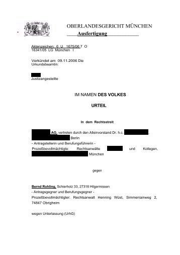 Urteil des OLG München vom 9.11.2006 - Taubenschlag
