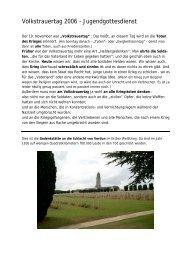 Volkstrauertag 2006 – Jugendgottesdienst - Taubenschlag