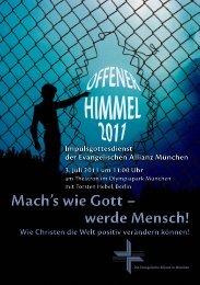 Offener Himmel 2011 (Mach's wie Gott – werde ... - Taubenschlag