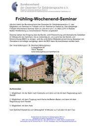 Frühling-Wochenend-Seminar - Taubenschlag