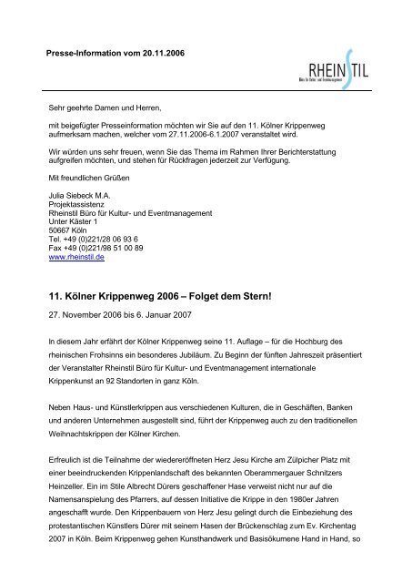 Presseinformation: 11. Kölner Krippenweg 2006 ... - Taubenschlag