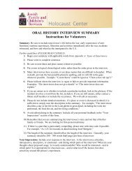 ORAL HISTORY INTERVIEW SUMMARY Instructions for Volunteers