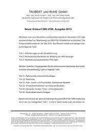 Neuer Entwurf DIN 4109, Ausgabe 2013 - Taubert und Ruhe GmbH