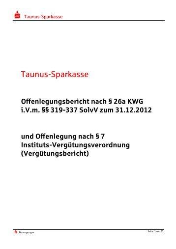 Offenlegungsbericht 2012 - Taunus Sparkasse