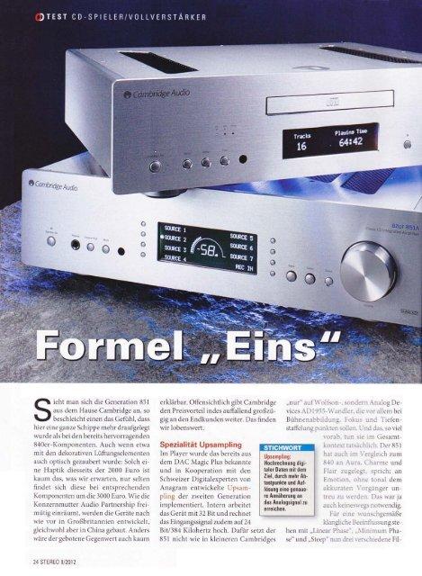 "Cambridge Audio Azur 851A & 851C Stereo 09/2012 - ""Formel Eins"""