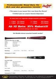 Ab 10 Bats: 35% Rabatt!!! - TAURUS SPORTS Kloten