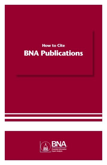 How To Cite BNA Publications