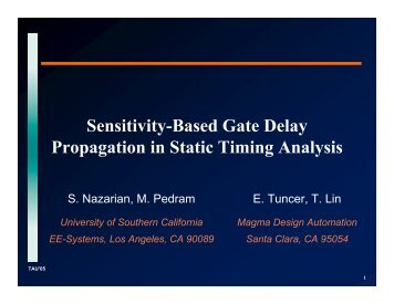 Sensitivity-Based Gate Delay Propagation in Static Timing Analysis