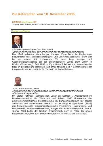 Die Referenten vom 10. November 2006 - Technik Akademie ...