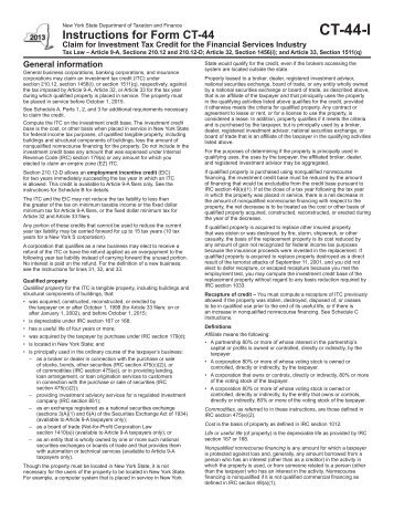Form Ct 44 I New York State Department Of Taxation And Finance