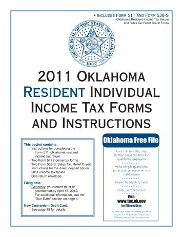 2011 oklahoma resident individual income tax forms and instructions