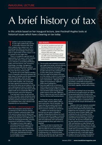 A brief history of tax - The Chartered Institute of Taxation