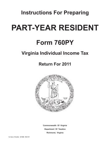 Instructions For Preparing Part Year Resident Form 760py Virginia