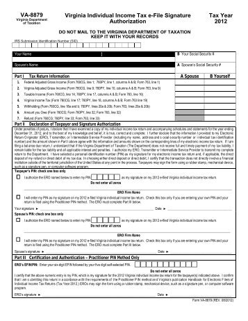 Virginia Individual Income Tax Declaration For Electronic Filing