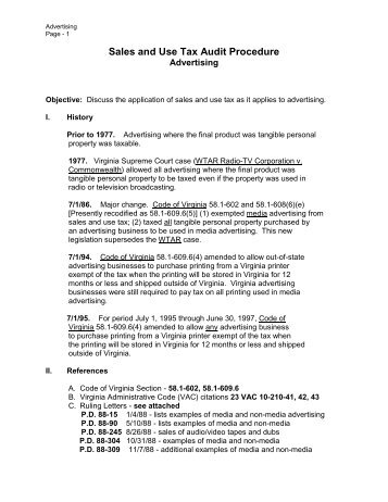 Sales and Use Tax Technical Bulletin Section 52 - NC Department ...