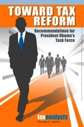 Recommendations for President Obama's Task Force - Tax Analysts