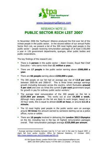 PUBLIC SECTOR RICH LIST 2007 - The TaxPayers' Alliance