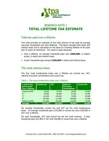 TOTAL LIFETIME TAX ESTIMATE - The TaxPayers' Alliance
