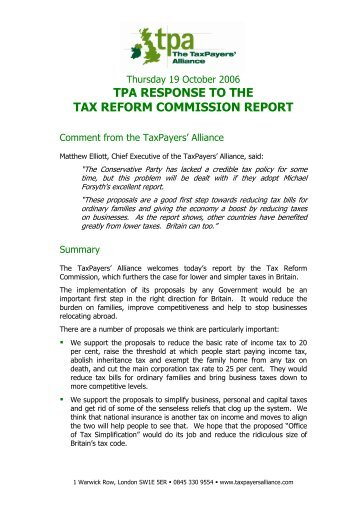 tpa response to the tax reform commission report - The TaxPayers ...