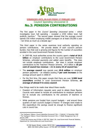 No.3: PENSION CONTRIBUTIONS - The TaxPayers' Alliance