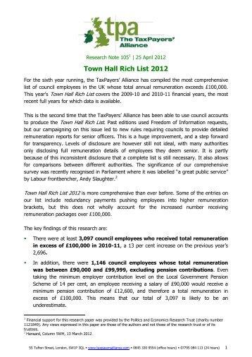 Town Hall Rich List 2012 - The TaxPayers' Alliance