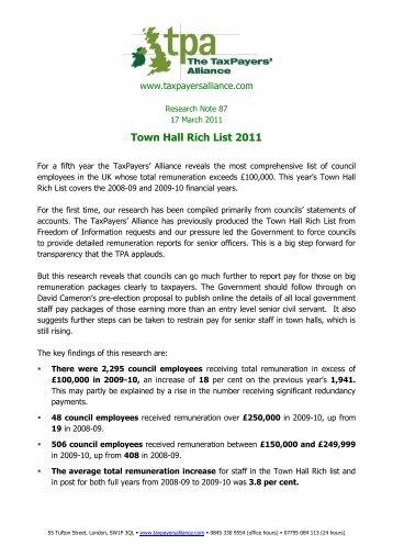 Town Hall Rich List - The TaxPayers' Alliance