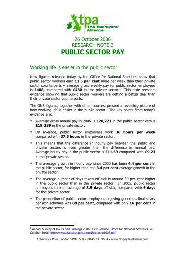 PUBLIC SECTOR PAY - The TaxPayers' Alliance