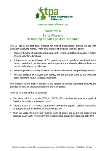 Party Players - The TaxPayers' Alliance