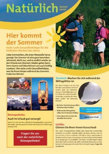 Juli: Gesund durch den Sommer - AESCULAP APOTHEKE AUE