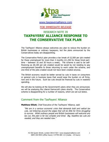 taxpayers' alliance response to the conservative tax plan