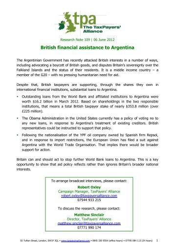 details about financial assistance to Argentina - The TaxPayers ...