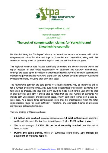 Local council compensation - The TaxPayers' Alliance
