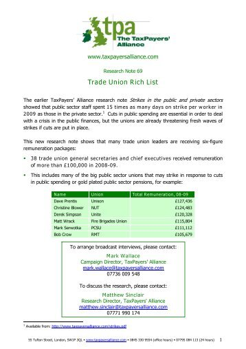 Trade Union Rich List - The TaxPayers' Alliance