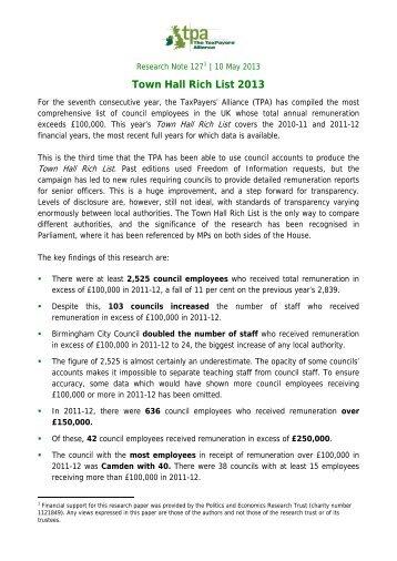 Town Hall Rich List 2013 - The TaxPayers' Alliance