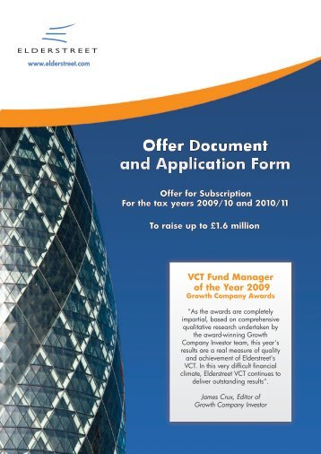 VCT Fund Manager of the Year 2009 - The Tax Shelter Report