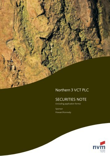 Northern 3 VCT PLC SECURITIES NOTE - The Tax Shelter Report